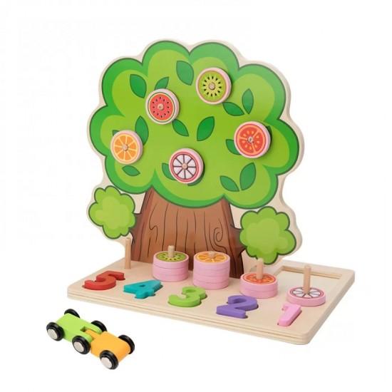 Copac Multifunctional din lemn cu mere si cifre, pista si masinuta
