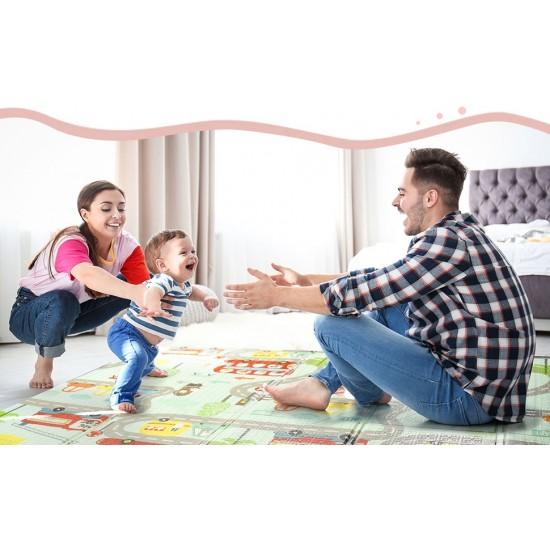 Covor de joaca pliabil cu doua fete