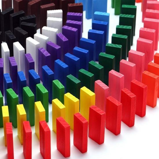 Joc Domino din lemn colorat 600 piese