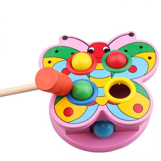 Jucarie educativa din lemn cu bile si ciocan Fluturasul roz