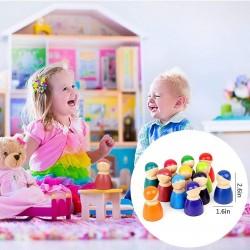 Jucarie Montessori din lemn - 12 Papusi Peg Rainbow