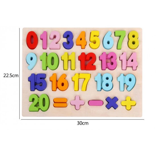 Puzzle cifre si semne Color din lemn
