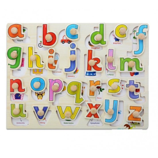 Puzzle Invatam sa scriem literele mici ale alfabetului cu maner
