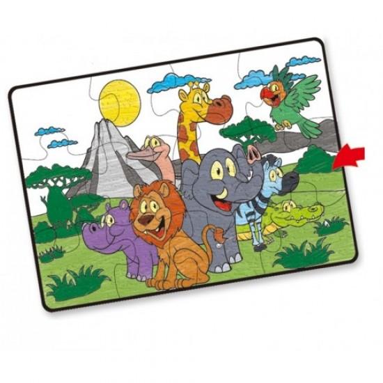 Puzzle de podea gigant de colorat, 12 piese, 87x58 cm