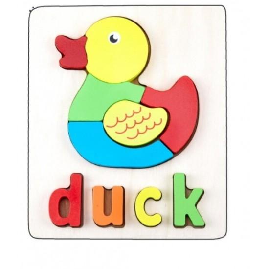 Puzzle Din Lemn Cuvinte In Limba Engleza - Rata (Duck)
