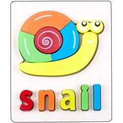 Puzzle Din Lemn Cuvinte In Limba Engleza - Snail (Melc)