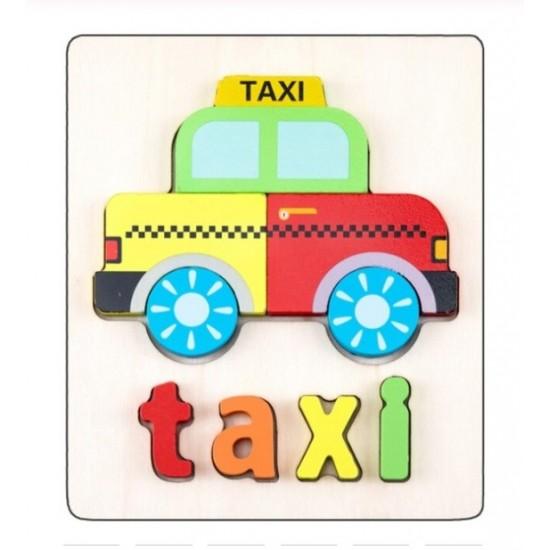 Puzzle Din Lemn Cuvinte In Limba Engleza - Taxi