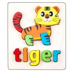 Puzzle Din Lemn Cuvinte In Limba Engleza - Tiger (Tigru)