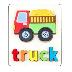 Puzzle Din Lemn Cuvinte In Limba Engleza - Camion (Truck)