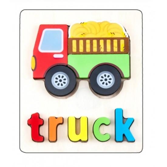 Puzzle Din Lemn Cuvinte In Limba Engleza - Camion (Truck)