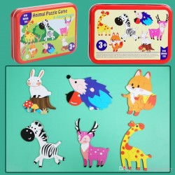 Puzzle format din 4-6 piese Animalute in cutie metalica