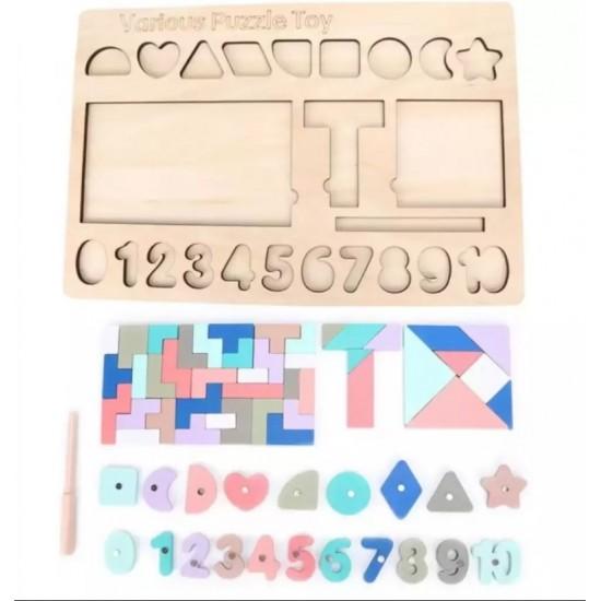 Tangram pastel cu numere si forme magnetice