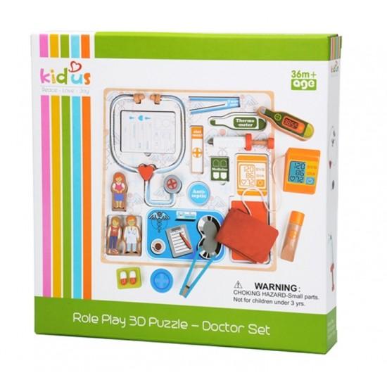Joc de rol - Set Doctor lemn puzzle 3D cu accesorii Kidus