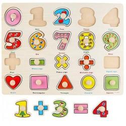 Puzzle Matematica cifre, semne si forme geometrice