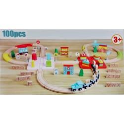 Tren din lemn Alfabet 100 piese