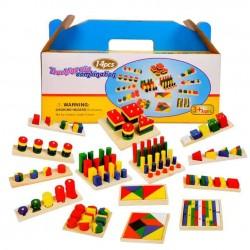 Set Jucarii Montessori Lemn 14 jocuri