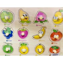 Puzzle incastru cu pini Baby Fruits