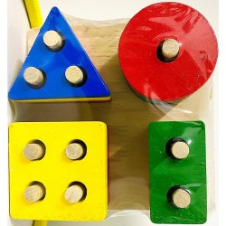 Joc stivuire din lemn  4 forme geometrice