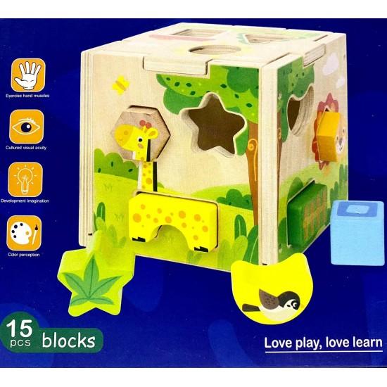 Sortator Montessori Cub din Lemn