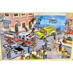 Puzzle 100 piese Pompieri in actiune