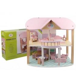 Casă de păpuși din lemn cu 2 etaje Roz