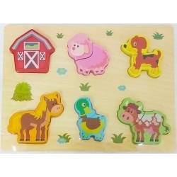 Puzzle lemn format din 2 piese mari Animale la ferma