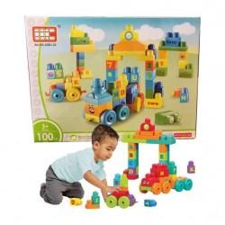 Cuburi de constructie Mega 100 piese Trenuletul educativ cu cifre si litere