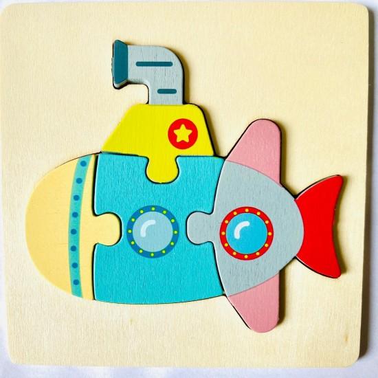 Puzzle 3D din lemn- Submarin