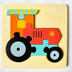 Puzzle 3D din lemn Tractor