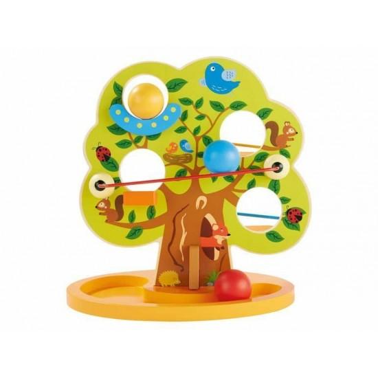 Copac interactiv din lemn cu bile