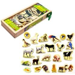 Animale de la ferma, din lemn cu magnet