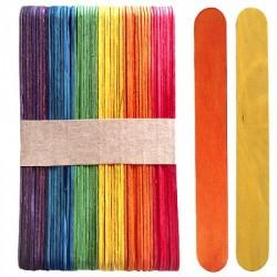 Set 50 bete din lemn multicolor 15x2 cm