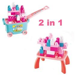 34 Cuburi de constructie cu carucior si masuta Roz sau Verde