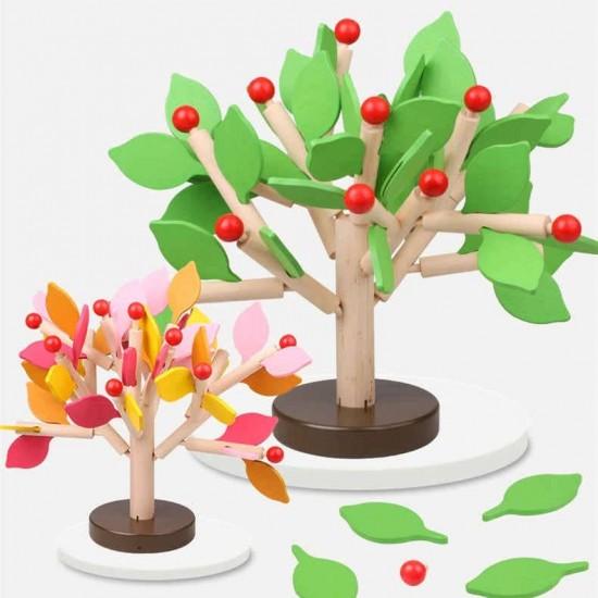 Joc de echilibru montessori - Copac anotimp din lemn