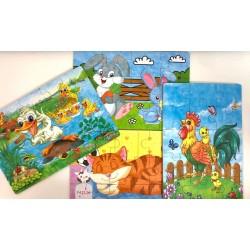 Set 4 puzzle Animale Ferma in cutie metalica