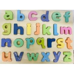 Puzzle 3D din lemn- Alfabet litere mici