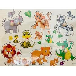 Puzzle din lemn cu pini- animale din jungla