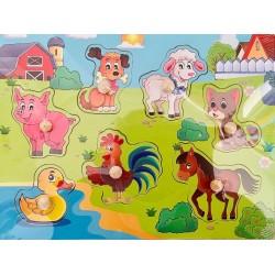 Puzzle din lemn cu pini animale domestice