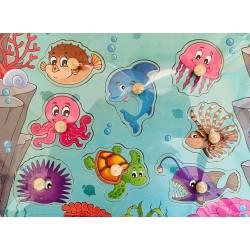 Puzzle din lemn cu pin- animale marine