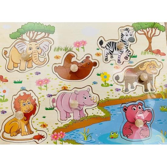 Puzzle din lemn cu pini animale salbatice