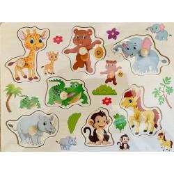 Puzzle din lemn cu pini pui de animale salbatice