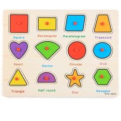 Puzzle 12 forme geometrice din lemn