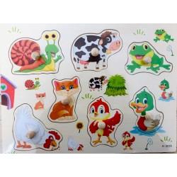 Puzzle din lemn cu pini 7 Animale Ferma