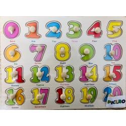 Puzzle din lemn educativ cu pini Ciferele colorate