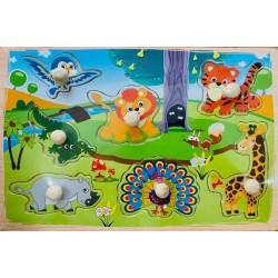 Puzzle cu pini din lemn Animalutele