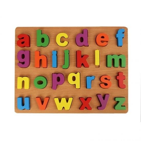Alfabet 3D  litere mici Puzzle incastru din lemn