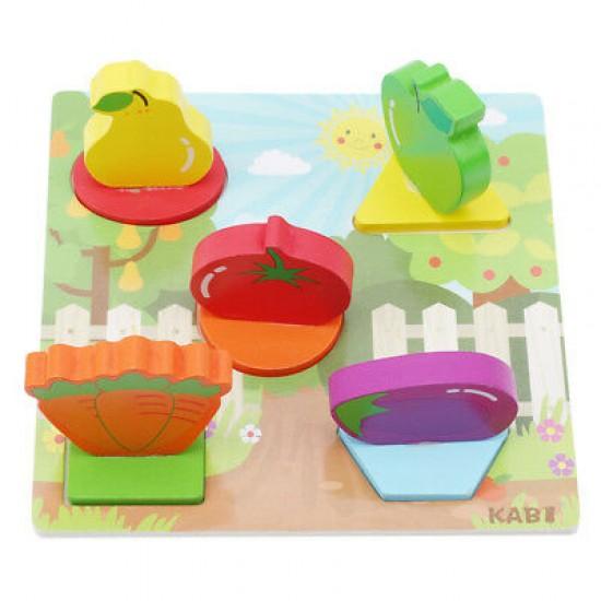 Puzzle din lemn 3D Fructe Kabi