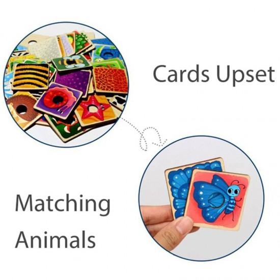 Joc cognitiv din lemn Recunoaste Animalele