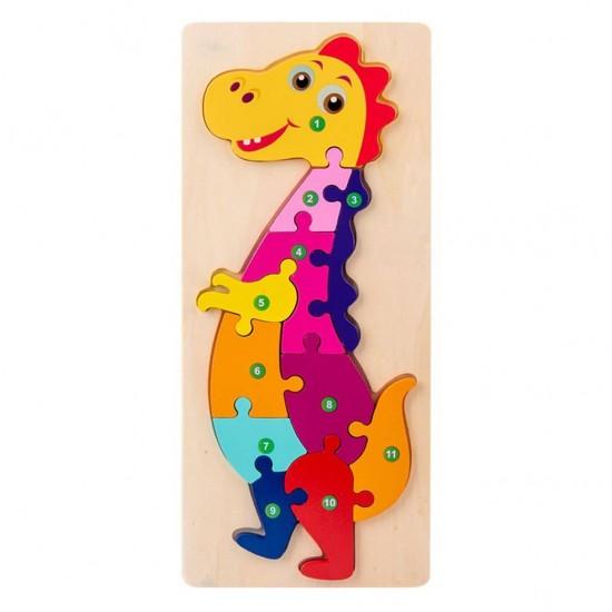 Puzzle educativ din lemn Montessori Dino