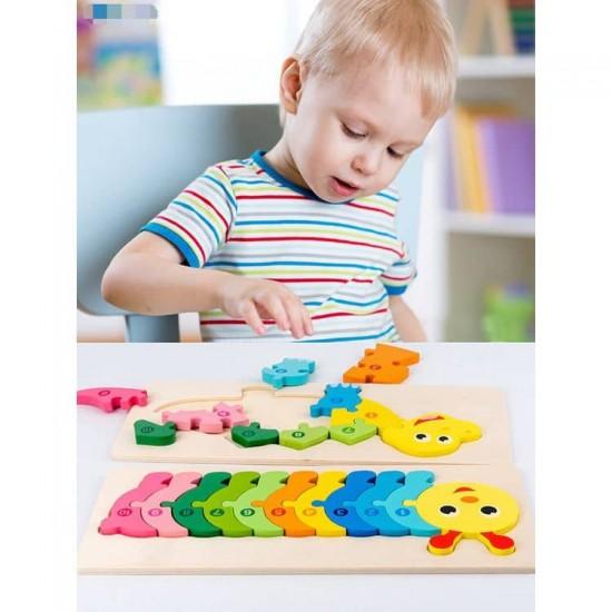 Puzzle educativ din lemn Montessori Omida